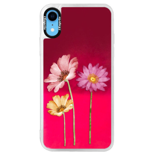 Neonové pouzdro Pink iSaprio – Three Flowers – iPhone XR Neonové pouzdro Pink iSaprio – Three Flowers – iPhone XR