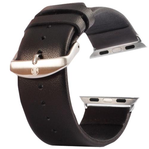 Kožený pásek / řemínek Kakapi pro Apple Watch 38mm černý Kožený pásek / řemínek Kakapi pro Apple Watch 38mm černý