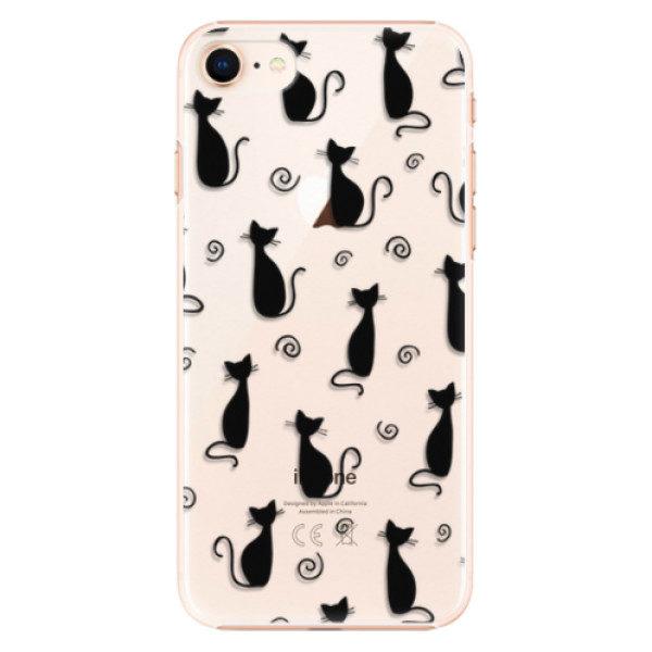 Plastové pouzdro iSaprio – Cat pattern 05 – black – iPhone 8 Plastové pouzdro iSaprio – Cat pattern 05 – black – iPhone 8