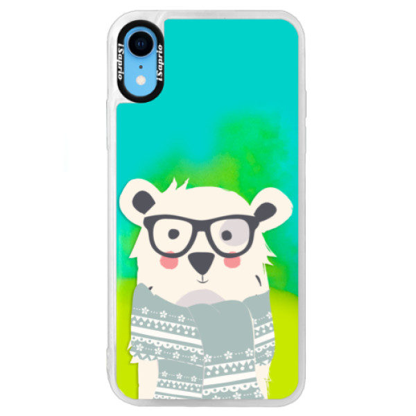 Neonové pouzdro Blue iSaprio – Bear with Scarf – iPhone XR Neonové pouzdro Blue iSaprio – Bear with Scarf – iPhone XR