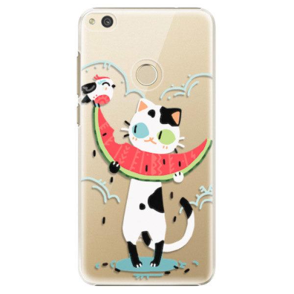 Plastové pouzdro iSaprio – Cat with melon – Huawei P8 Lite 2017 Plastové pouzdro iSaprio – Cat with melon – Huawei P8 Lite 2017