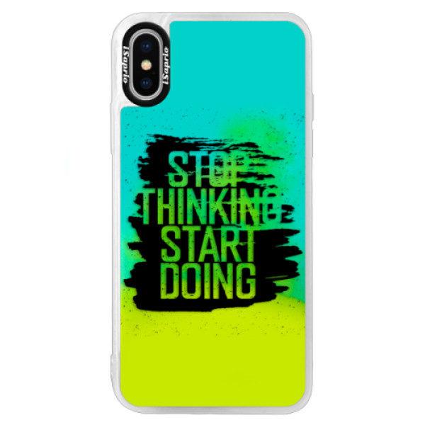 Neonové pouzdro Blue iSaprio – Start Doing – black – iPhone X Neonové pouzdro Blue iSaprio – Start Doing – black – iPhone X