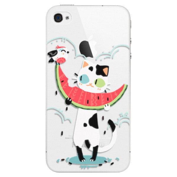 Plastové pouzdro iSaprio – Cat with melon – iPhone 4/4S Plastové pouzdro iSaprio – Cat with melon – iPhone 4/4S
